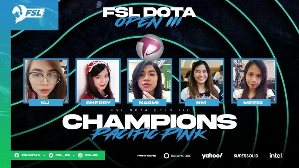 Pacific Pink win the FSL Dota 2 Open III, their third-straight championship at the FSL Dota 2 Open series. (Photo: FSL Dota 2 Facebook)