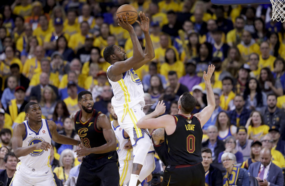 It wasn't pretty, but the Warriors still managed to open the 2018 NBA Finals with a win. (AP Photo)