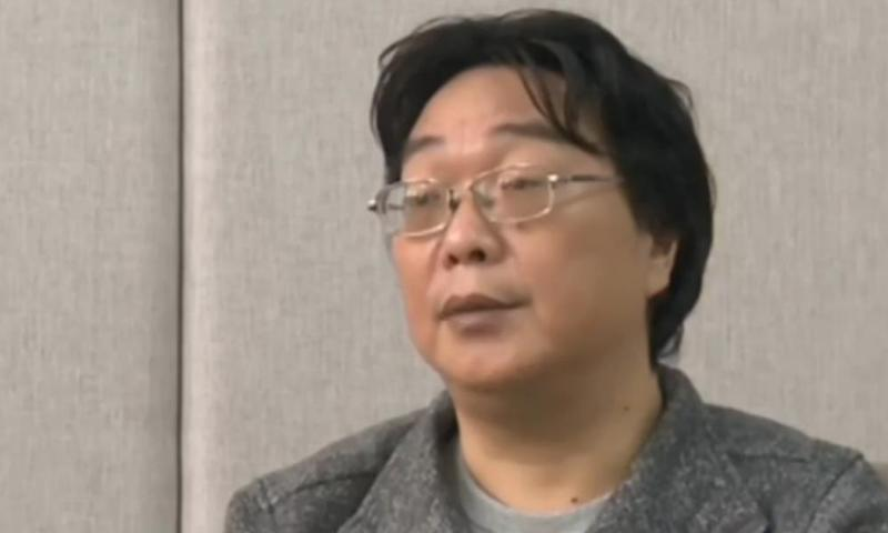 A screen grab taken from Chinese state broadcaster CCTV shows Gui Minhai speaking in an interview broadcast on 17 January 2016.