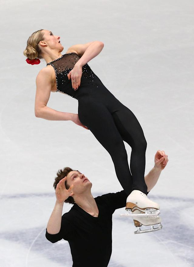 Figure Skating - World Figure Skating Championships - The Mediolanum Forum, Milan, Italy - March 21, 2018 Canada's Camille Ruest and Andrew Wolfe during the Pairs Short Programme REUTERS/Alessandro Bianchi