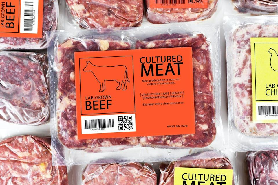 A package of 'lab-grown' beef.