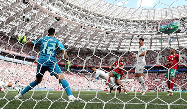 Soccer Football - World Cup - Group B - Portugal vs Morocco - Luzhniki Stadium, Moscow, Russia - June 20, 2018 Portugal's Cristiano Ronaldo scores their first goal REUTERS/Carl Recine TPX IMAGES OF THE DAY