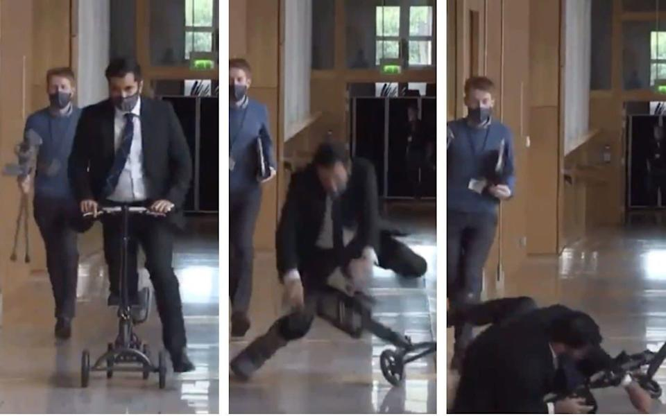 Humza Yousaf was racing along the corridor when he came crashing down from his scooter - STV