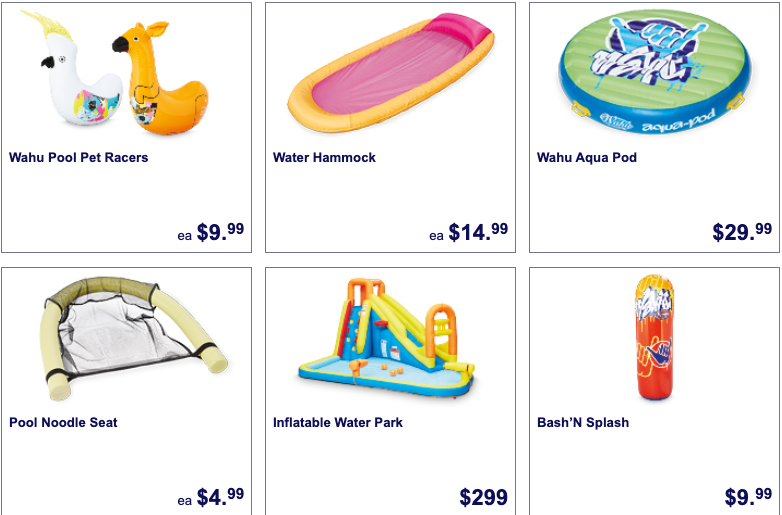 Children's water toys selling as Special Buys at Aldi.