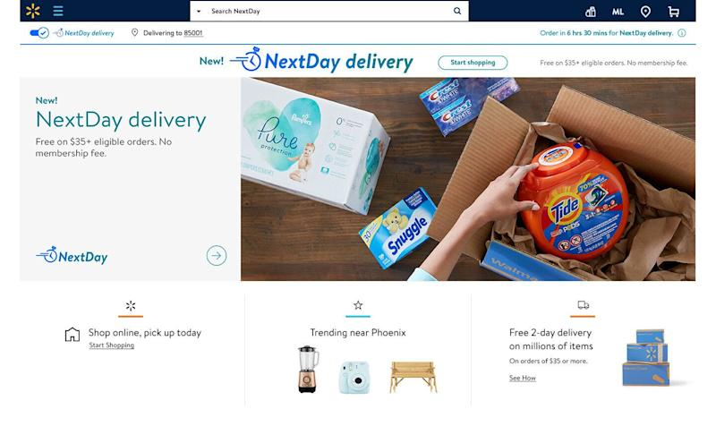 Walmart's NextDay lets customers shop up to 220,000 of the items most frequently purchased items, ranging from diapers and laundry detergent to toys and electronics.