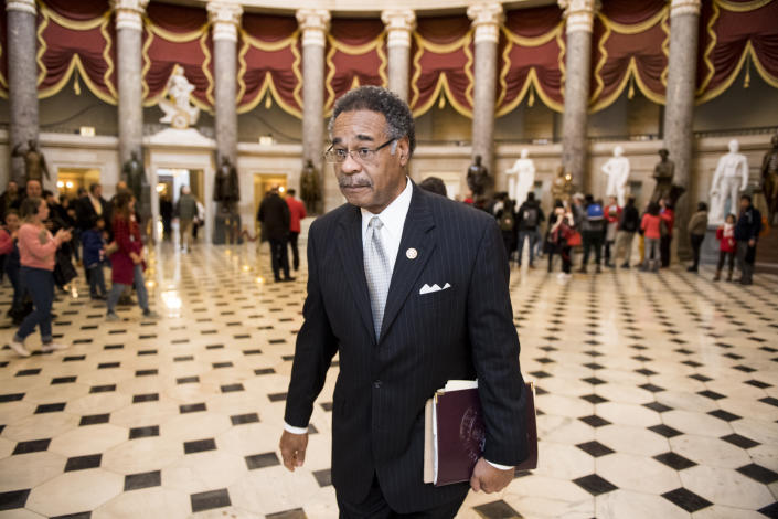 Rep. Emanuel Cleaver, D-Mo., walks through Statuary Hall in the Capitol in 2019. ( Bill Clark/CQ Roll Call via Getty Images)