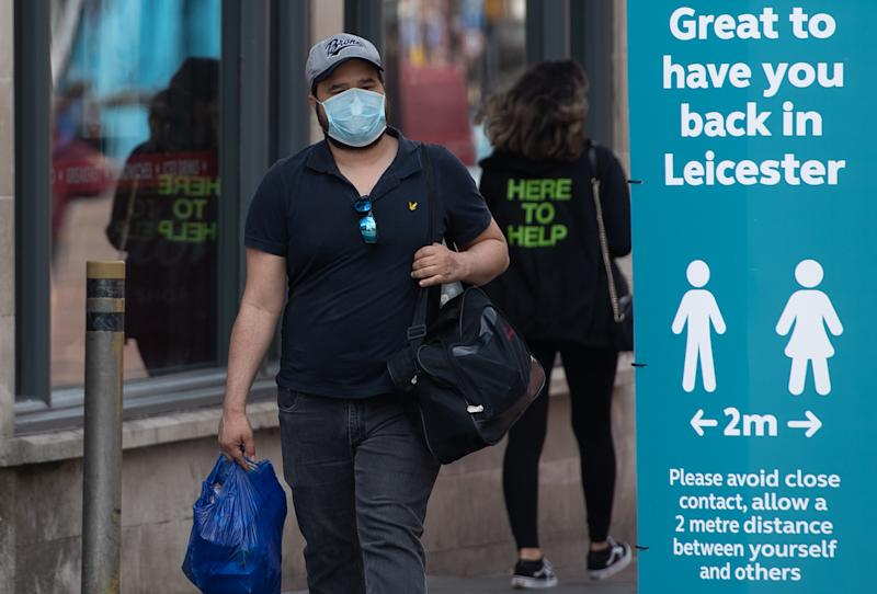 Social distancing advice on a sign in Leicester, as the city�s spike in coronavirus cases has sparked a report that it may be the first UK location to be subjected to a district lockdown.