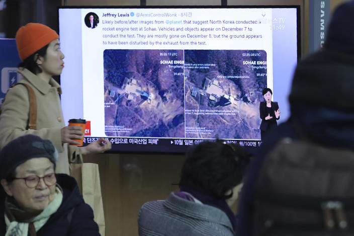 "A TV screen shows an image of a North Korean long-range rocket launch site during a news program at the Seoul Railway Station in Seoul, South Korea, Monday, Dec. 9, 2019. North Korea said Sunday it carried out a ""very important test"" at its long-range rocket launch site that it reportedly rebuilt after having partially dismantled it after entering denuclearization talks with the United States last year.(AP Photo/Ahn Young-joon)"