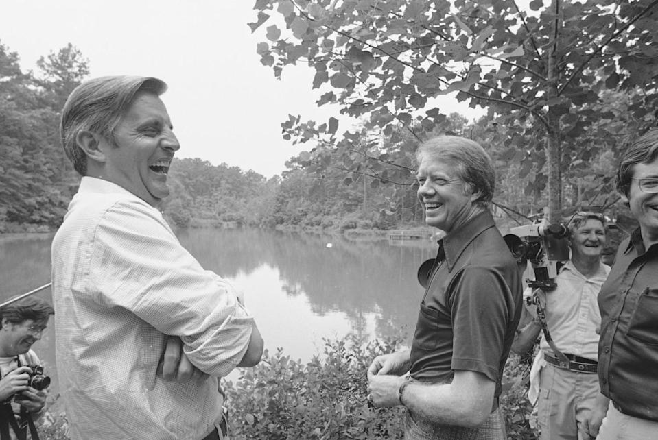 Democratic presidential nominee Jimmy Carter and his running mate, Walter Mondale, share a joke