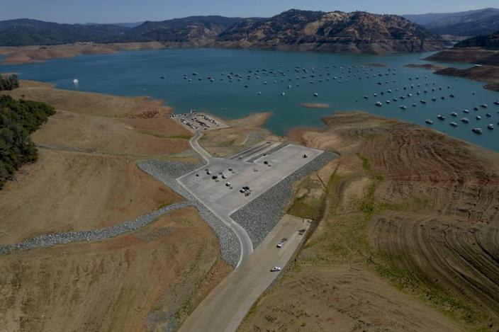 """<div class=""""inline-image__caption""""><p>A closed boat ramp at Oroville Lake during low water levels in Oroville, California, U.S., on Tuesday, June 22, 2021. </p></div> <div class=""""inline-image__credit"""">Kyle Grillot/Bloomberg via Getty</div>"""