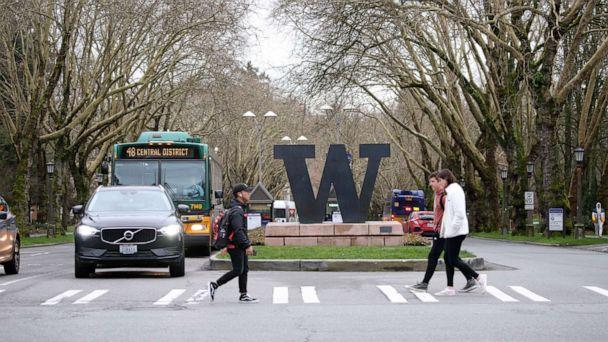 PHOTO: Students at the University of Washington are on campus for the last day of in-person classes on March 6, 2020 in Seattle. The university closed March 9, as a reaction to the novel coronavirus outbreak for the remainder of the winter quarter. (Karen Ducey/Getty Images)
