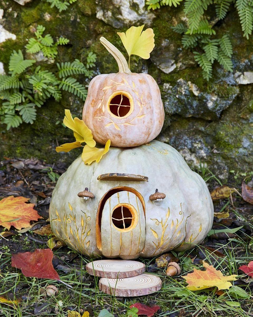 """<p>Grown-ups and kids alike will love having this magical gnome house in the yard. Just be ready for company: Gnomes are bound to move in within a day or two! 😉</p><p><strong>Get the tutorial at <a href=""""https://www.countryliving.com/diy-crafts/g279/pumpkin-carving-ideas/?slide=2"""" rel=""""nofollow noopener"""" target=""""_blank"""" data-ylk=""""slk:Country Living"""" class=""""link rapid-noclick-resp"""">Country Living</a>.</strong></p><p><strong><a class=""""link rapid-noclick-resp"""" href=""""https://go.redirectingat.com?id=74968X1596630&url=https%3A%2F%2Fwww.walmart.com%2Fsearch%2F%3Fquery%3Ddollhouse%2Bfurniture&sref=https%3A%2F%2Fwww.thepioneerwoman.com%2Fhome-lifestyle%2Fcrafts-diy%2Fg36982763%2Fpumpkin-carving-ideas%2F"""" rel=""""nofollow noopener"""" target=""""_blank"""" data-ylk=""""slk:SHOP DOLLHOUSE FURNITURE"""">SHOP DOLLHOUSE FURNITURE</a><br></strong></p>"""