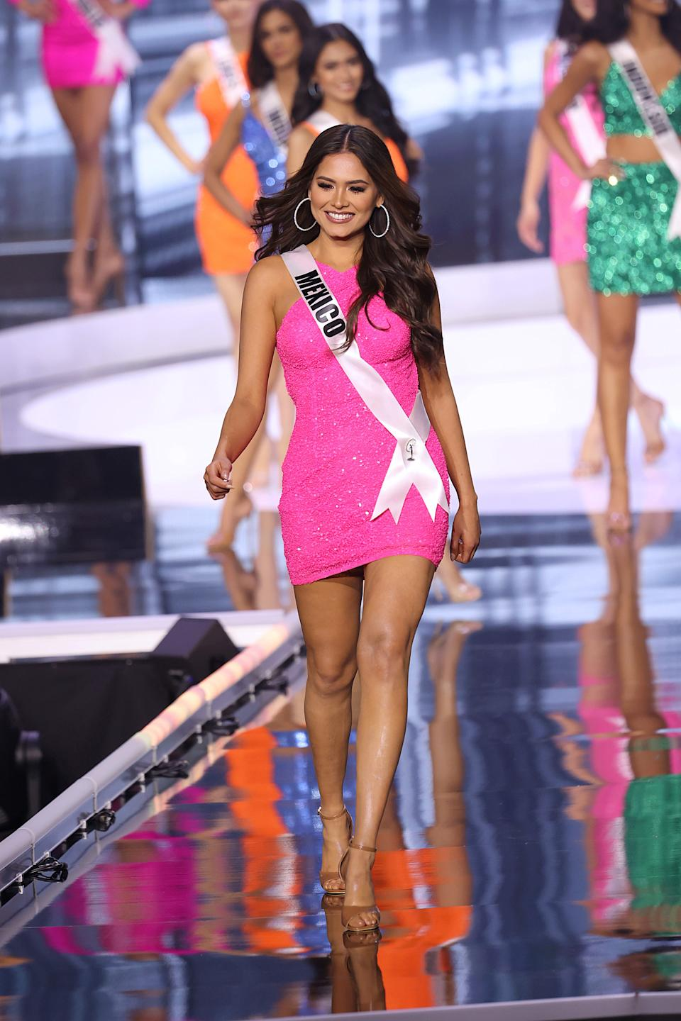 HOLLYWOOD, FLORIDA - MAY 16: Miss Universe Mexico Andrea Meza appears onstage at the Miss Universe 2021 Pageant at Seminole Hard Rock Hotel & Casino on May 16, 2021 in Hollywood, Florida. (Photo by Rodrigo Varela/Getty Images)