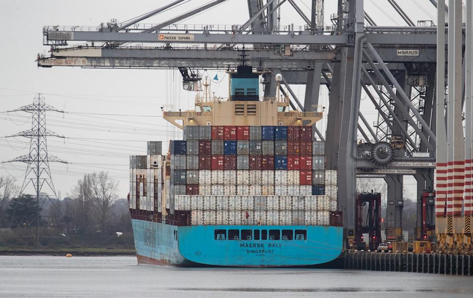 The container ship Maersk Bali has containers unloaded whilst at berth at DP World container terminal in Southampton Docks. (Photo by Andrew Matthews/PA Images via Getty Images)