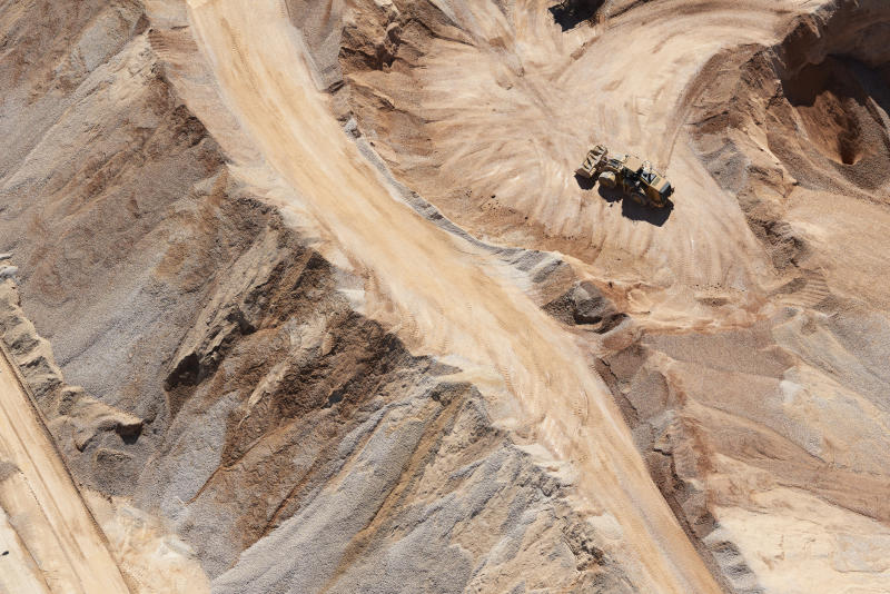 An aerial view of sand mine near San Antonio, Texas. Getty