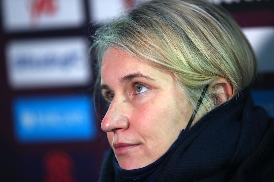 READING, ENGLAND - JANUARY 10: Emma Hayes manager of Chelsea is interviewed after the Barclays FA Women's Super League match between Reading Women and Chelsea Women at Madejski Stadium on January 10, 2021 in Reading, England. (Photo by Catherine Ivill/Getty Images)
