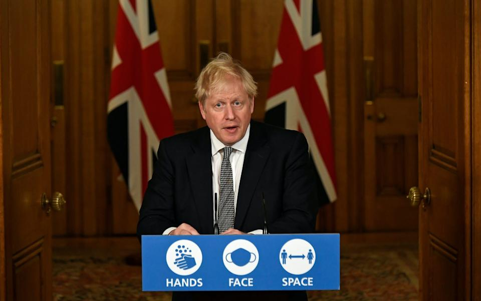 Britain's Prime Minister Boris Johnson speaks during a press conference in 10 Downing Street on October 31 - Alberto Pezzali-Pool/Getty Images