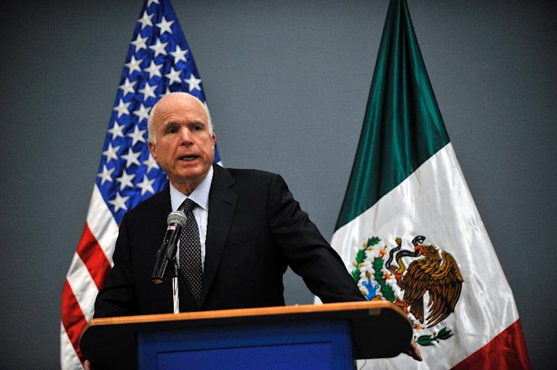 US Republican Senator for Arizona John McCain delivers a message to the media at the Benjamin Franklin library at the US embassy in Mexico City on December 20, 2016