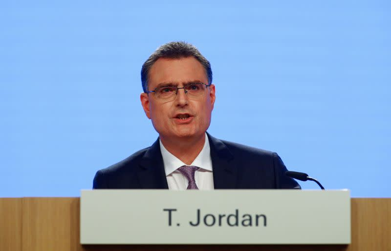 FILE PHOTO: Swiss National Bank (SNB) Chairman Thomas Jordan speaks as he attends a news conference, in Bern
