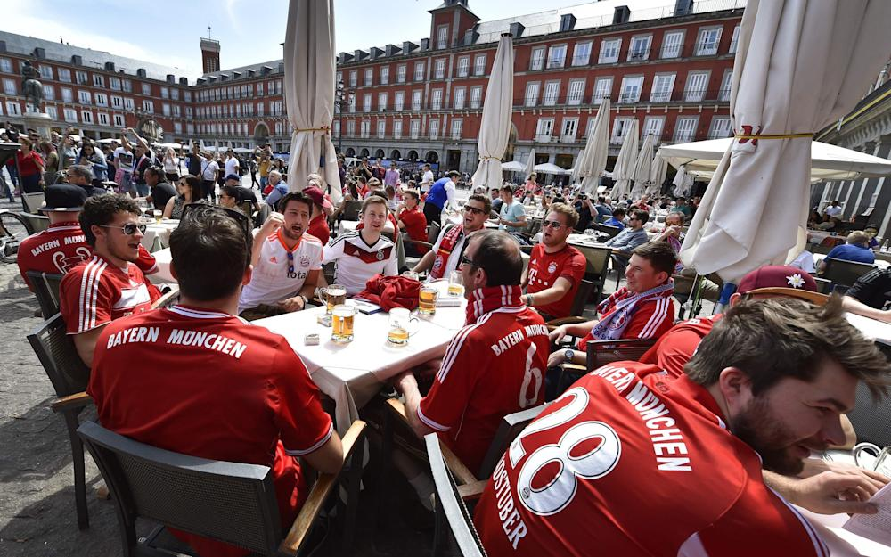 Bayern Munich supporters gather in Madrid - Credit: AFP