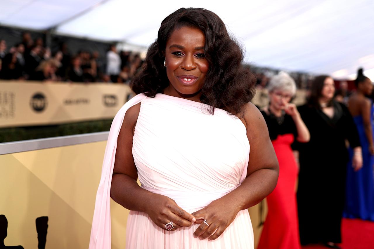 "<p>""We knew we wanted to do something that felt romantic to compliment her flowy dress,"" celebrity hairstylist Lacy Redway said in a statement regarding Aduba's SAG hair. ""<span>Uzo</span> has natural 4C curly hair, but we wanted to stretch out her tightly coiled curls for a looser wave."" To keep hair hydrated, Redway used Nexxus Humectress Conditioning Mist along with Jane Carter Solution Nourish and Shine before blow drying. <strong>Pro tip: </strong>It's important to keep 4C hair moisturized because it requires more hydration than other hair types. (Photo: Getty Images) </p>"