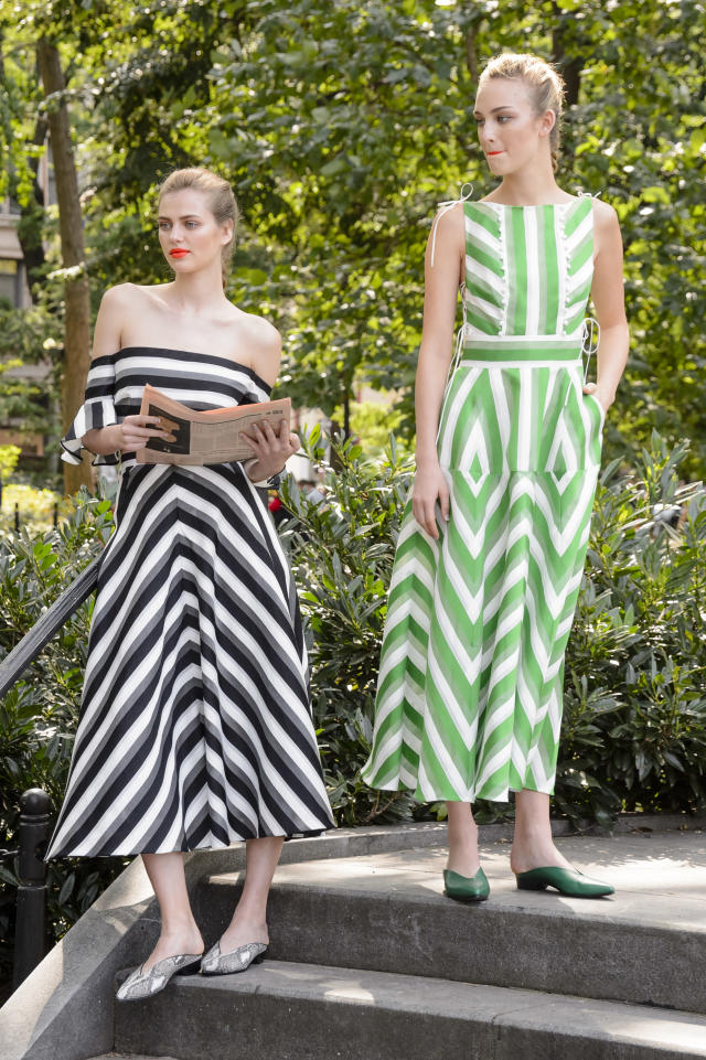 <p><i>Models wear bold graphic dresses from the SS18 Lela Rose collection. (Photo: ImaxTree) </i></p>