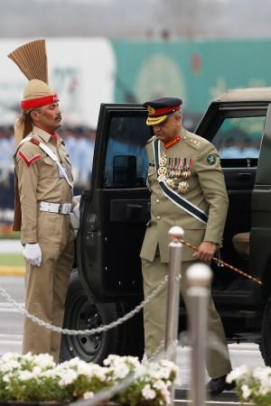 Pakistan's Army Chief of Staff General Qamar Javed Bajwa, arrives to attend the Pakistan Day military parade in Islamabad,