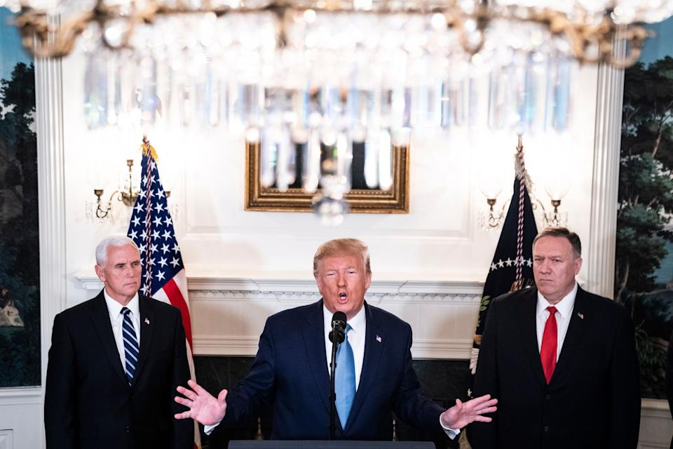 President Donald Trump, flanked by Vice President Mike Pence and Secretary of State Mike Pompeo, announces that the U.S. will lift sanctions on Turkey and the cease-fire in Syria will be permanent on Oct 23, 2019, in Washington, D.C. (Photo: Jabin Botsford/The Washington Post via Getty Images)