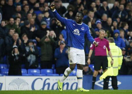 Everton's Romelu Lukaku celebrates scoring their fourth goal