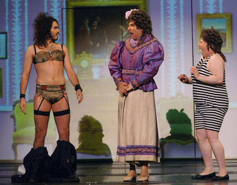 (From left to right) Russell Brand, David Walliams and Matt Lucas in a special Comic Relief performance of the Little Britain stage show at the Hammersmith Apollo in west London.