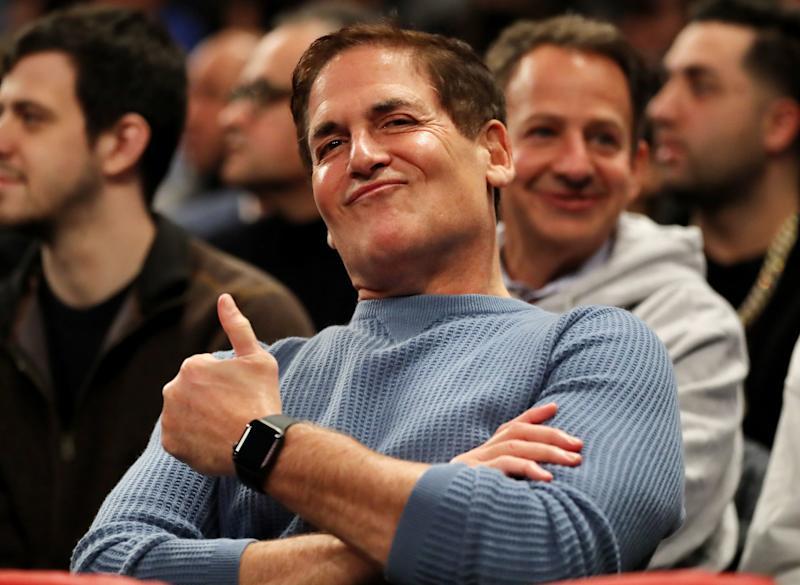NEW YORK, NEW YORK - JANUARY 30: Dallas Mavericks Mark Cuban smiles during the game between the New York Knicks and the Dallas Mavericks at Madison Square Garden on January 30, 2019 in New York City.NOTE TO USER: User expressly acknowledges and agrees that, by downloading and or using this photograph, User is consenting to the terms and conditions of the Getty Images License Agreement. (Photo by Elsa/Getty Images)