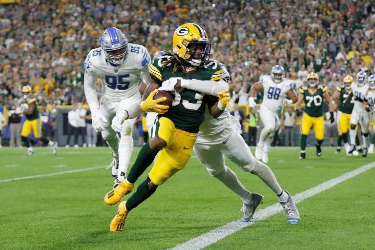 Jones rushed 17 times for 67 yards and caught six passes for 48 yards for Green Bay (AFP/Wesley Hitt)