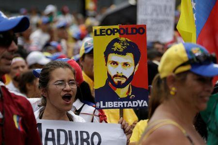 A placard depicting jailed Venezuelan opposition leader Leopoldo Lopez is seen during a rally in support of political prisoners and against Venezuelan President Nicolas Maduro, in Los Teques