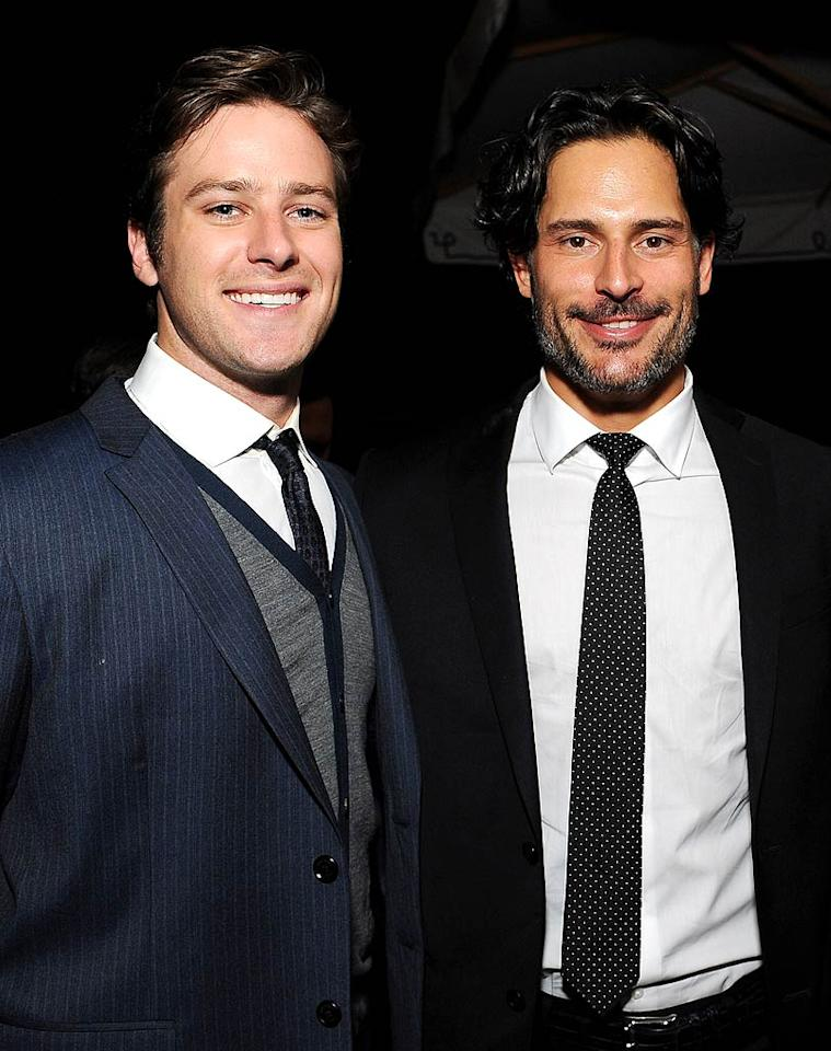 """J. Edgar"" castmember Armie Hammer joined ""True Blood"" actor Joe Manganiello for some manly conversation. (11/17/2011)"