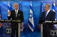 Then US vice president Joe Biden (left) meets in Jerusalem in 2016 with Israeli Prime Minister Benjamin Netanyahu, who has had tense relations with Democratic administrations