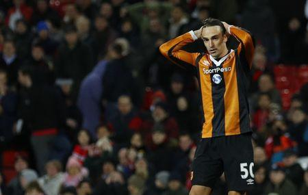 Hull City's Lazar Markovic looks dejected after hitting the post
