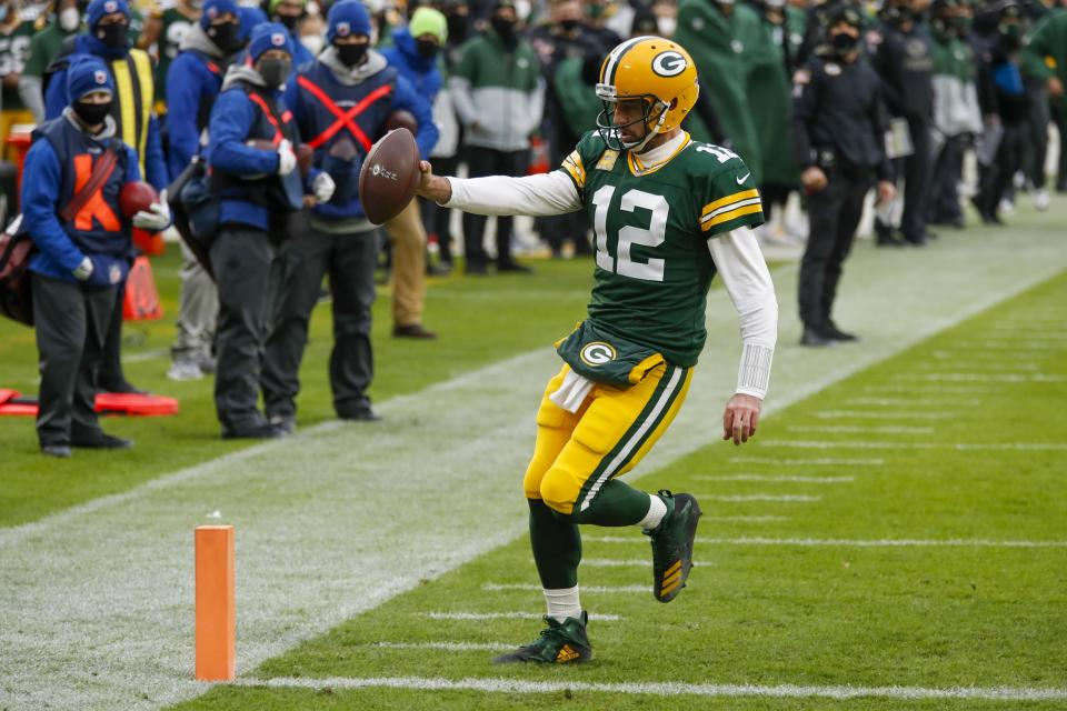 Green Bay Packers' Aaron Rodgers won his third NFL MVP award. (AP Photo/Matt Ludtke)