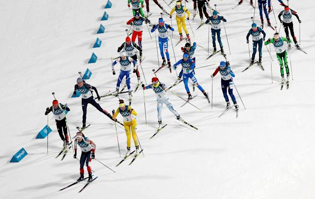 """Biathlon - Pyeongchang 2018 Winter Olympics - Women's 12,5km Mass Start Final - Alpensia Biathlon Centre - Pyeongchang, South Korea - February 17, 2018 - Athletes compete. REUTERS/Murad Sezer SEARCH """"OLYMPICS BEST"""" FOR ALL PICTURES. TPX IMAGES OF THE DAY."""