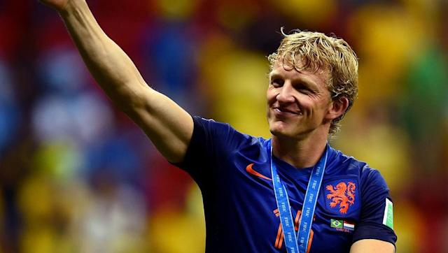 <p>A regular for the Netherlands since 2005, Kuyt played at three World Cups and two Euros. He surpassed a tally of 100 caps in the World Cup in Brazil in 2014, in the second round victory over Mexico.</p> <br><p>In total he managed 24 goals in 104 appearances and was also a losing finalist in South Africa 2010.</p>