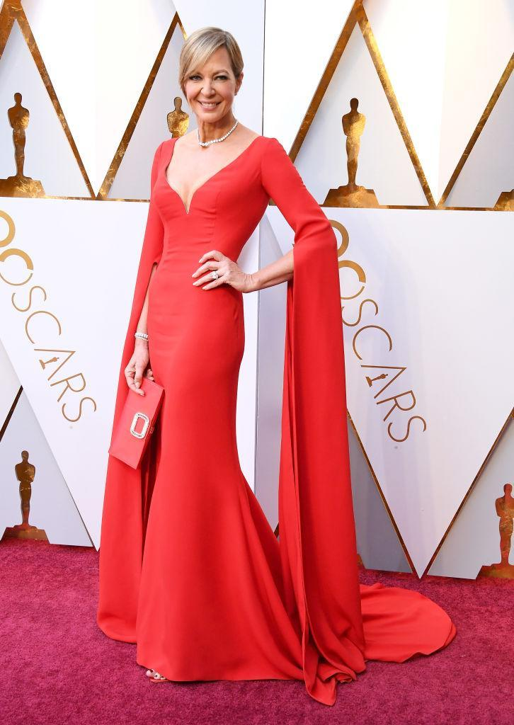 <p>Crimson was also the pick for Allison Janney at the 90th Annual Academy Awards in Hollywood. (Photo: Getty Images) </p>