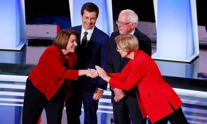 "<span class=""element-image__caption"">Amy Klobuchar, Pete Buttigieg, Bernie Sanders and Elizabeth Warren at the first night of the second Democratic debate in Detroit, Michigan, on 30 July.</span> <span class=""element-image__credit"">Photograph: Lucas Jackson/Reuters</span>"