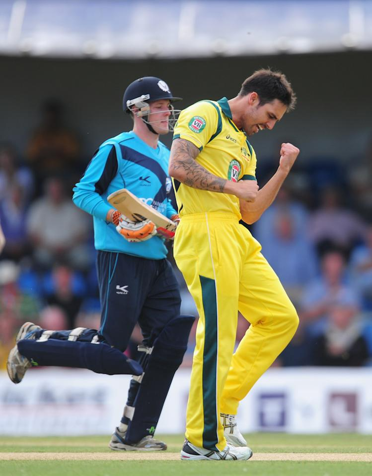 EDINBURGH, SCOTLAND - SEPTEMBER 03:  Australia bowler Mitchell Johnson celebrates after dismissing Scotland batsman Freddie Colemann during the One Day International between Scotland and Australia at the Grange on September 3, 2013 in Edinburgh, Scotland.  (Photo by Stu Forster/Getty Images)