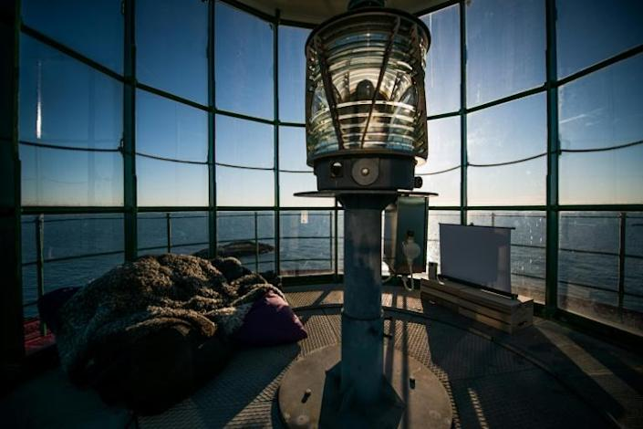 A screen has been set up in the lantern room at the top of the lighthouse