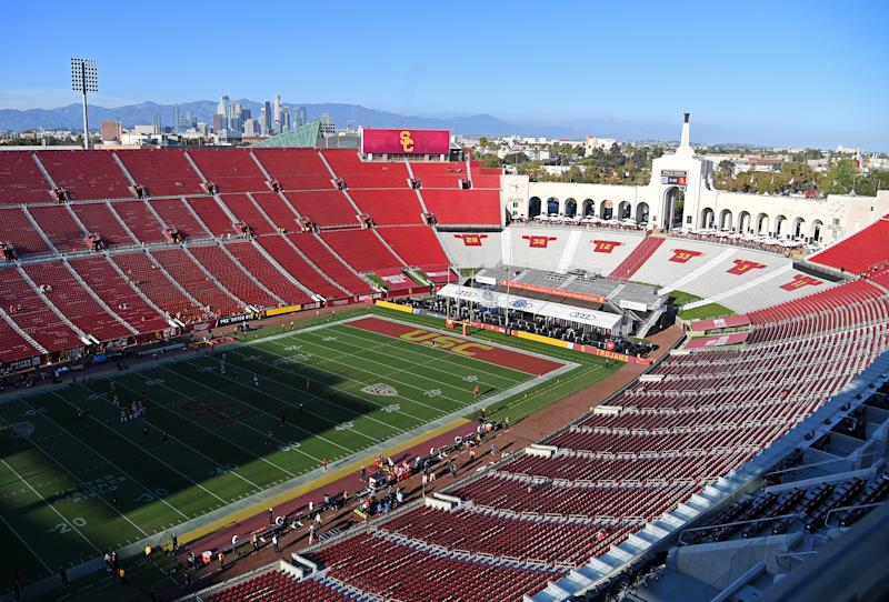 LOS ANGELES, CA - SEPTEMBER 07: A general view of the Los Angeles Memorial Coliseum before the game between the USC Trojans and the Stanford Cardinal on September 7, 2019 in Los Angeles, California. (Photo by Jayne Kamin-Oncea/Getty Images)
