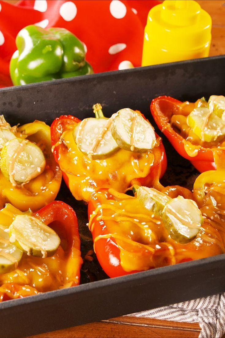 "<p>Pick your fave cheeseburger toppings!</p><p>Get the recipe from <a href=""https://www.delish.com/cooking/recipe-ideas/a24228772/cheeseburger-stuffed-peppers-recipe/"" rel=""nofollow noopener"" target=""_blank"" data-ylk=""slk:Delish"" class=""link rapid-noclick-resp"">Delish</a>. </p>"