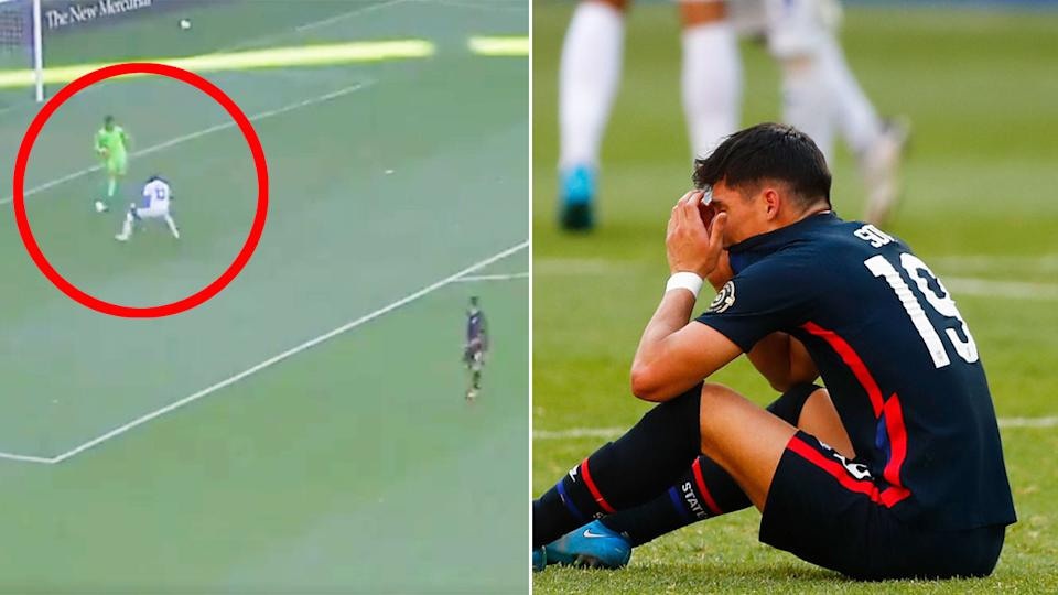 Pictured left, David Ochoa's big mistake that left American players distraught after the match.