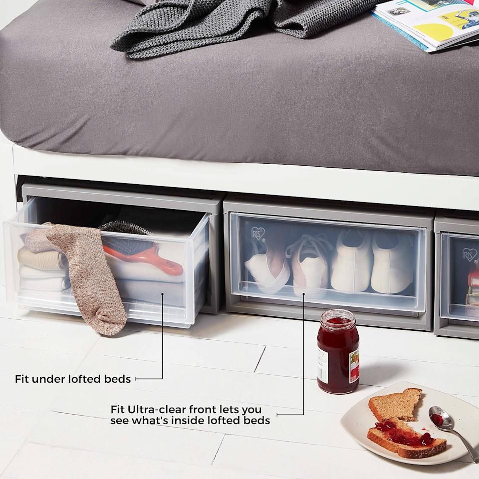 """<h3><a href=""""https://www.bedbathandbeyond.com/store/product/iris-reg-loft-underbed-stacking-drawer/5149161"""" rel=""""nofollow noopener"""" target=""""_blank"""" data-ylk=""""slk:IRIS LOFT Underbed Stacking Drawer"""" class=""""link rapid-noclick-resp"""">IRIS LOFT Underbed Stacking Drawer</a> ( <strong>Back-To-School Bestseller)</strong></h3><p>Make the most out of a cramped shared space by optimizing your under-bed area with these streamlined storage drawers. Reviewers describe the sleek stackable units as, """"perfect for dorm rooms,"""" and price conscious stand-ins for dressers.</p>"""