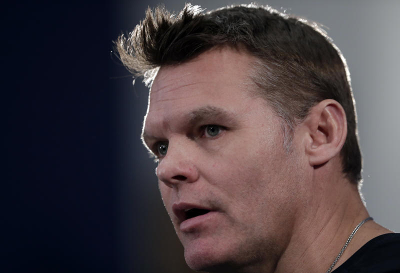 Indianapolis Colts general manager Chris Ballard answers questions during a press conference Wednesday. (AP)