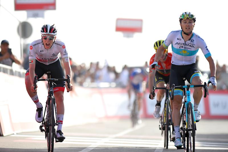UAE Tour 2020 2nd Edition 5th stage Al Ain Jebel Hafeet 162 km 27022020 Tadej Pogacar SLO UAE Team Emirates Alexey Lutsenko KAZ Astana Pro Team Adam Yates GBR Mitchelton Scott photo Dario BelingheriBettiniPhoto2020