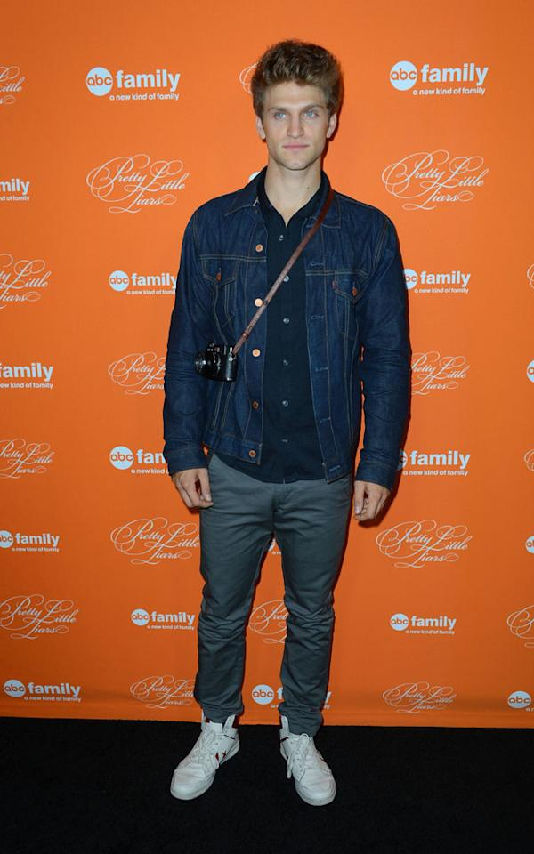 """Keegan Allen arrives at the screening of ABC Family's """"Pretty Little Liars"""" Special Halloween Episode at Hollywood Forever Cemetery on October 16, 2012 in Hollywood, California."""